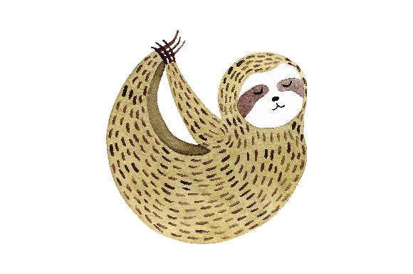 Sloth Doing Yoga Pose - Watercolor Style Craft Design By Creative Fabrica Crafts Image 1