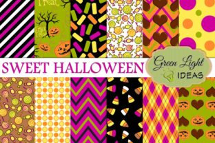 Sweet Halloween Candy Digital Background Graphic By GreenLightIdeas