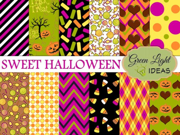 Sweet Halloween Candy Digital Background Graphic Backgrounds By GreenLightIdeas