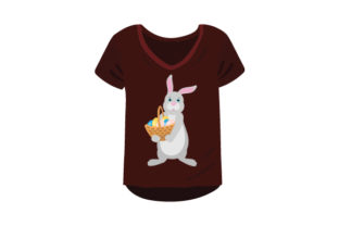 T-shirt Mockup with Easter Bunny Holding Basket of Eggs Craft Design By Creative Fabrica Crafts