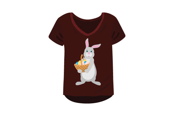Download Free T Shirt Mockup With Easter Bunny Holding Basket Of Eggs Svg Cut for Cricut Explore, Silhouette and other cutting machines.