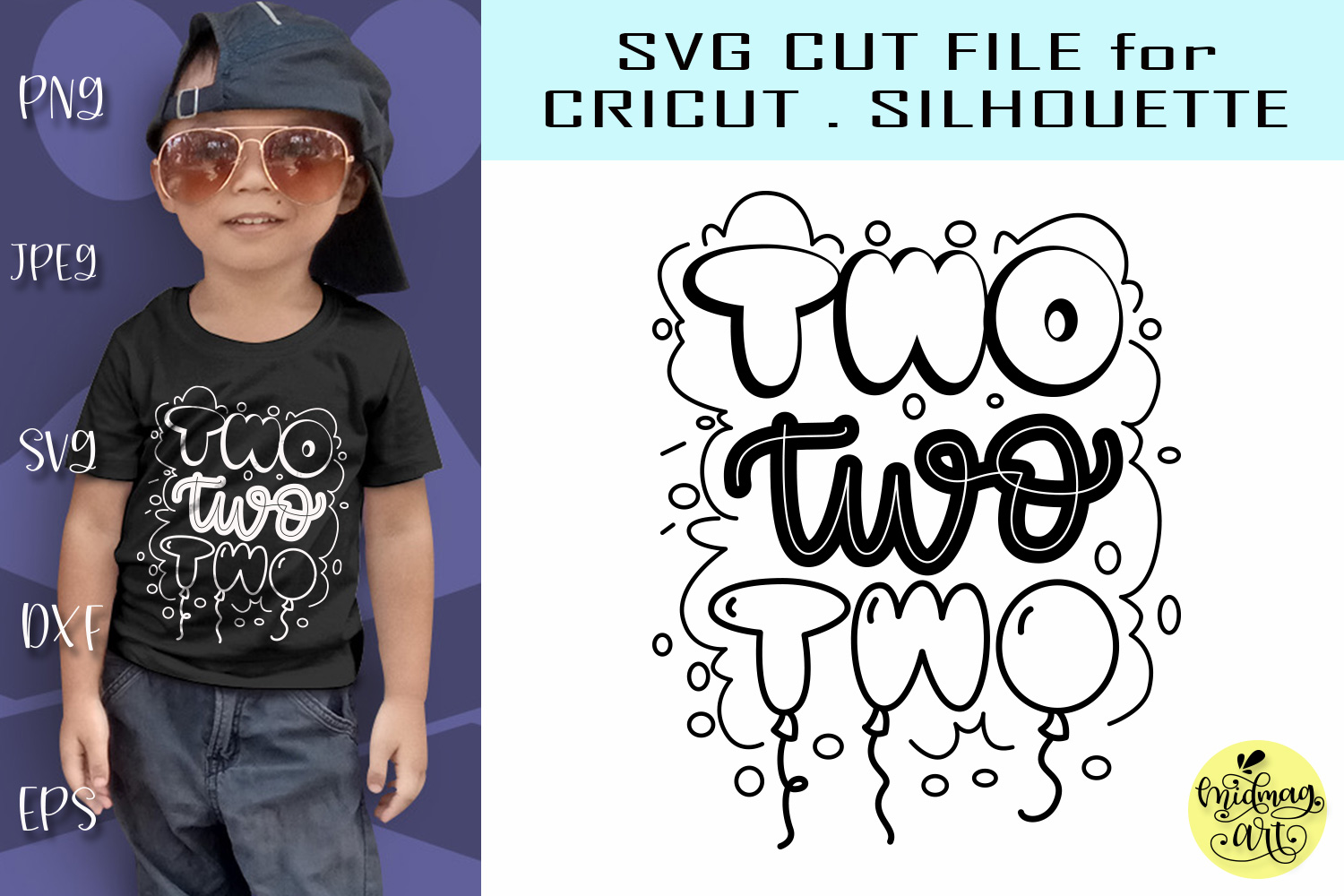 Download Free Two 2nd Birthday Graphic By Midmagart Creative Fabrica for Cricut Explore, Silhouette and other cutting machines.