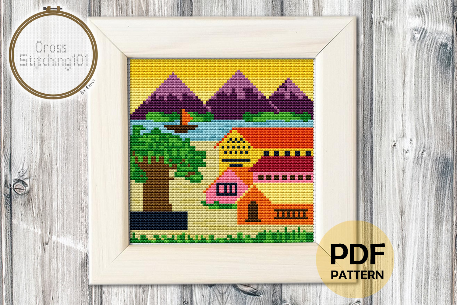 Download Free Village Scene Modern Cross Stitch Graphic By Crossstitching101 for Cricut Explore, Silhouette and other cutting machines.