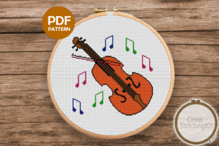 Download Free Violin Modern Cross Stitch Pattern Graphic By Crossstitching101 for Cricut Explore, Silhouette and other cutting machines.