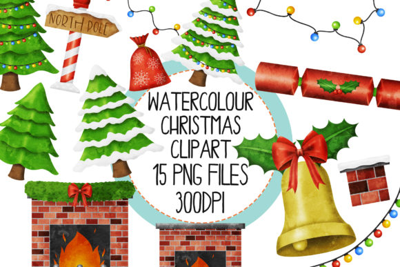 Download Free Watercolor Christmas Set 1 Graphic By The Laughing Sloth Digital for Cricut Explore, Silhouette and other cutting machines.