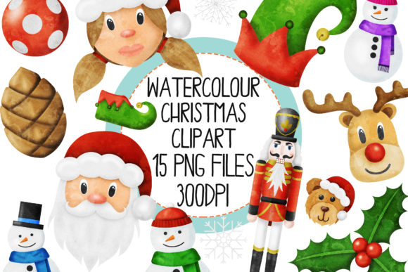 Watercolor Christmas Set 2 Graphic Illustrations By The_Laughing_Sloth_Digital