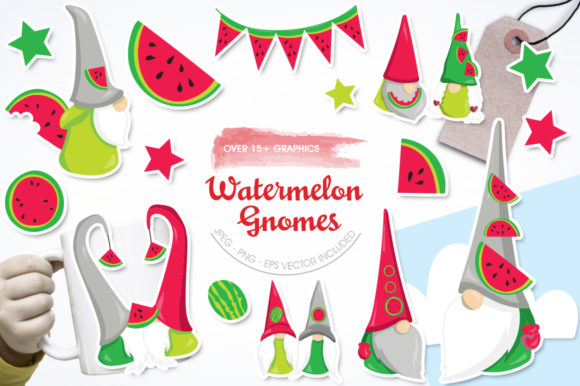 Print on Demand: Watermelon Gnomes Graphic Illustrations By Prettygrafik