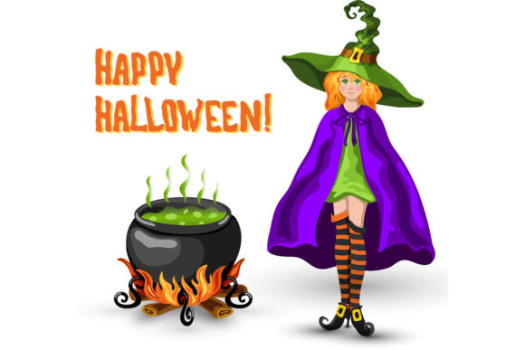 Print on Demand: Witch, Cauldron and Halloween Title Graphic Illustrations By TasiPas - Image 3