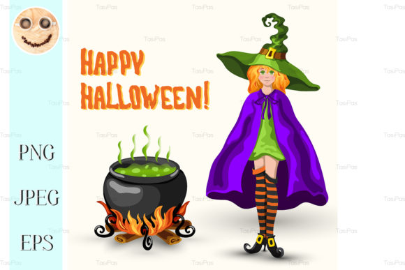 Print on Demand: Witch, Cauldron and Halloween Title Graphic Illustrations By TasiPas