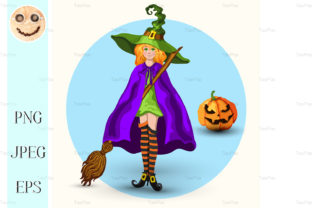 Witch in the Green Hat and Lantern Graphic By TasiPas