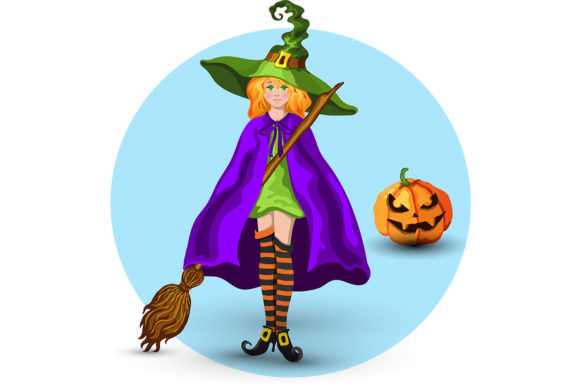 Download Free Witch In The Green Hat And Lantern Graphic By Tasipas Creative for Cricut Explore, Silhouette and other cutting machines.