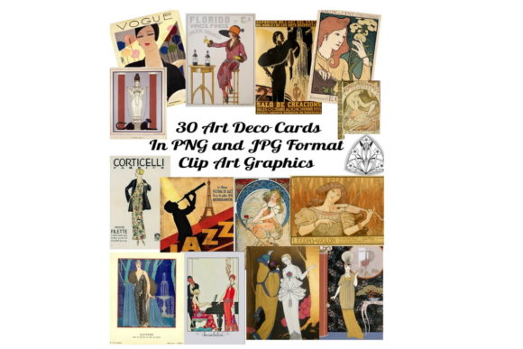Print on Demand: 30  Art Deco Labels Clip Art Images Graphic Illustrations By Scrapbook Attic Studio