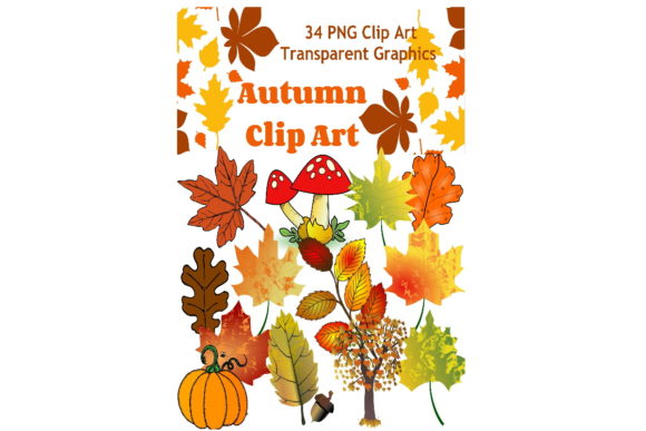 Print on Demand: 34 Assorted Autumn Graphic Clip Art Graphic Graphic Templates By Scrapbook Attic Studio