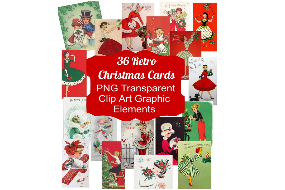 Download Free 36 Vintage Retro Christmas Card Graphics Graphic By Scrapbook for Cricut Explore, Silhouette and other cutting machines.
