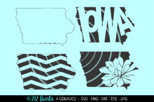 Iowa State Map Silhouette Graphic By 212 Fonts