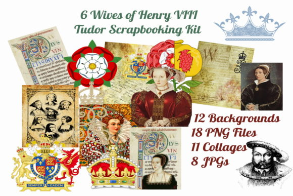 Print on Demand: 6 Wives of Henry VIII Scrapbooking Kit Graphic Graphic Templates By Scrapbook Attic Studio