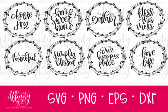 Download Free 8 Wreaths With Phrases Graphic By Affinitygrove Creative Fabrica for Cricut Explore, Silhouette and other cutting machines.