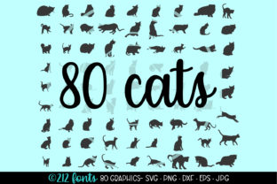 80 Cats and Kittens Silhouettes Graphic By 212 Fonts