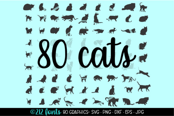 Print on Demand: 80 Cats and Kittens Silhouettes Graphic Illustrations By 212 Fonts