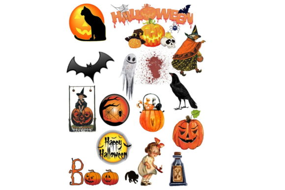 Print on Demand: 94 Assorted Halloween Graphic Clip Art Graphic Graphic Templates By Scrapbook Attic Studio - Image 2