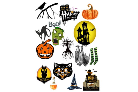Print on Demand: 94 Assorted Halloween Graphic Clip Art Graphic Graphic Templates By Scrapbook Attic Studio - Image 3
