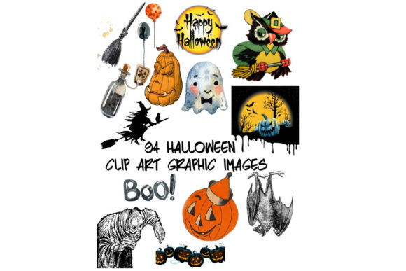 Print on Demand: 94 Assorted Halloween Graphic Clip Art Graphic Graphic Templates By Scrapbook Attic Studio