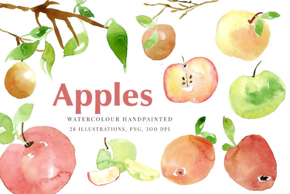Print on Demand: Autumn Apples Watercolour Clip Art Graphic Illustrations By Primafox Design