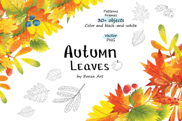 Print on Demand: Autumn Leaves Objects Patterns Frames Graphic Objects By Zooza Art
