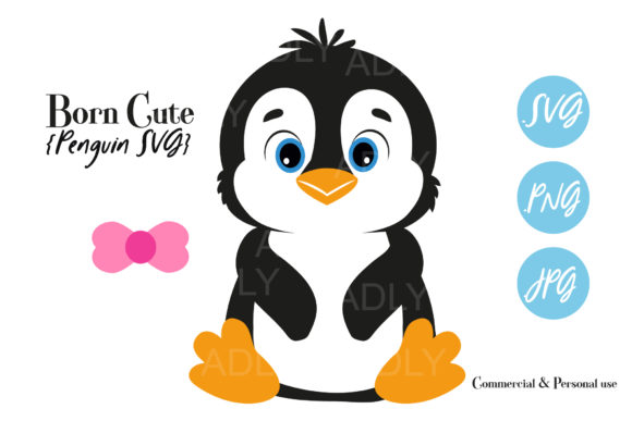 Print on Demand: Baby Boy/girl Winter Penguin with Bow Graphic Illustrations By adlydigital