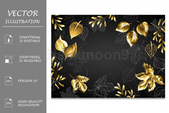 Black Background with Gold Leaves Graphic Illustrations By Blackmoon9
