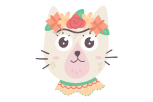 Cat with Flower Crown Craft Design By Creative Fabrica Crafts
