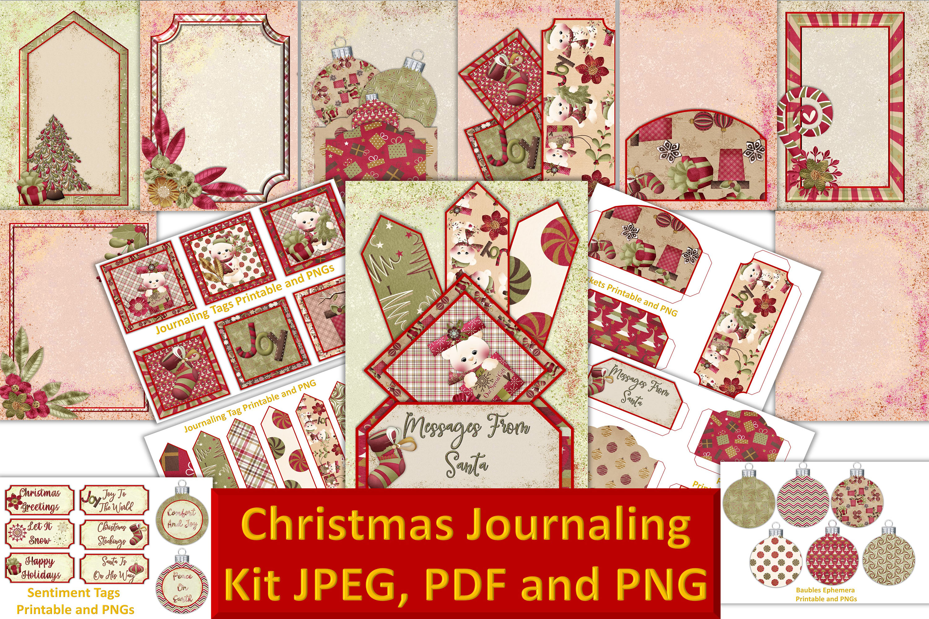 Download Free Christmas Journal Kit Graphic By The Paper Princess Creative Fabrica for Cricut Explore, Silhouette and other cutting machines.