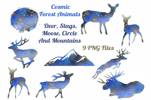 Download Free Cosmic Deer Graphic By Scrapbook Attic Studio Creative Fabrica for Cricut Explore, Silhouette and other cutting machines.