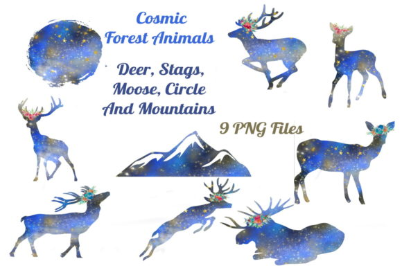 Download Free Cosmic Silhouette Deer Graphic By Scrapbook Attic Studio for Cricut Explore, Silhouette and other cutting machines.