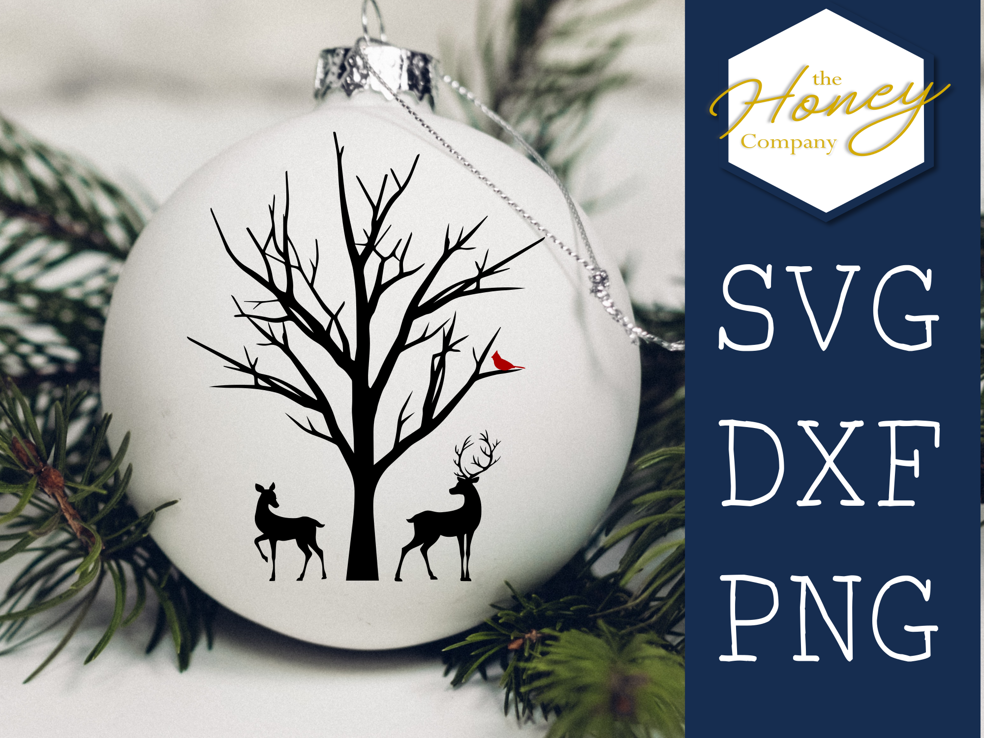 Download Free Deer Cardinal Winter Christmas Ornament Graphic By The Honey for Cricut Explore, Silhouette and other cutting machines.