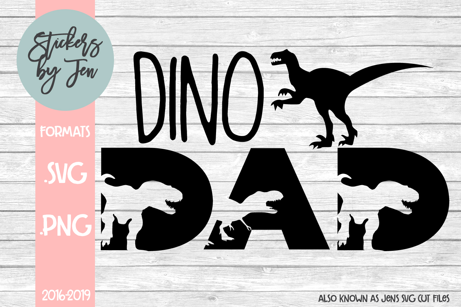 Download Free Dino Dad Graphic By Stickers By Jennifer Creative Fabrica for Cricut Explore, Silhouette and other cutting machines.