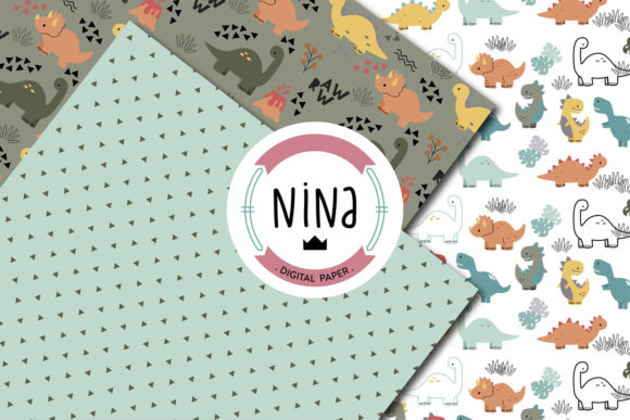 Download Free Dinosaur Digital Paper Graphic By Nina Prints Creative Fabrica for Cricut Explore, Silhouette and other cutting machines.
