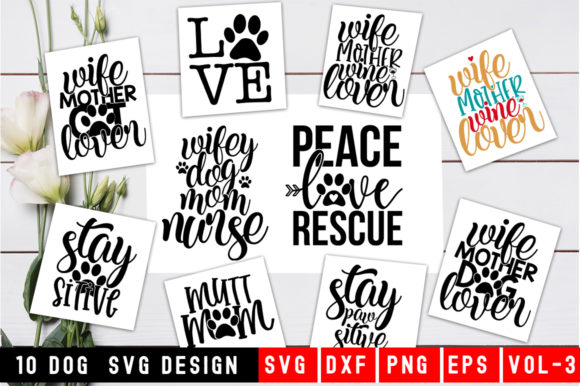 Print on Demand: Dog Quotes SVG Bundle Graphic Print Templates By DesignSmile