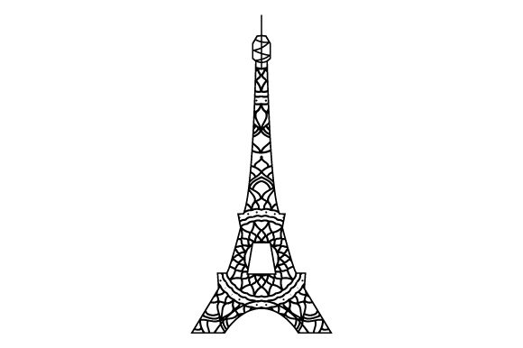 Download Free Eiffel Tower Mandala Style Svg Cut File By Creative Fabrica for Cricut Explore, Silhouette and other cutting machines.