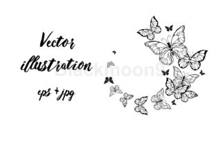 Flight of Contour Butterflies Graphic By Blackmoon9
