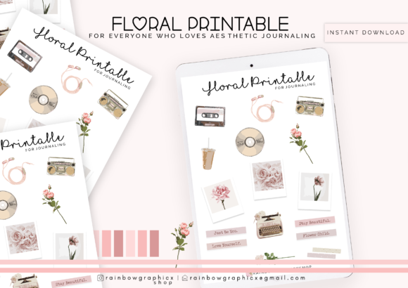 Print on Demand: Floral Printable Bullet Journaling Gráfico Plantillas Gráficas Por RainbowGraphicx