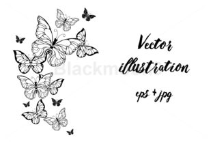 Flying Contour Butterflies Graphic By Blackmoon9