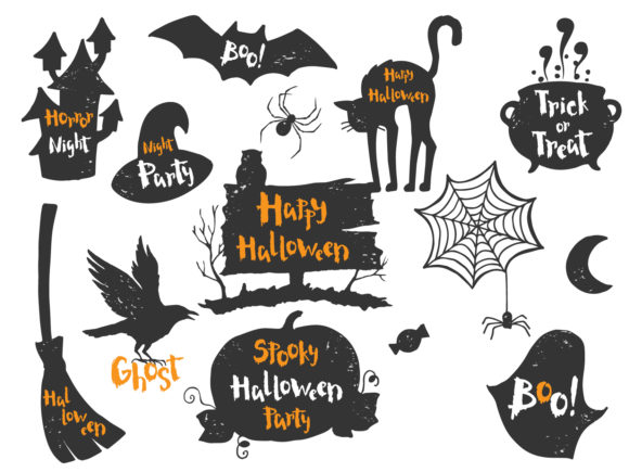 Happy Halloween Set Graphic Print Templates By Skull and Rose