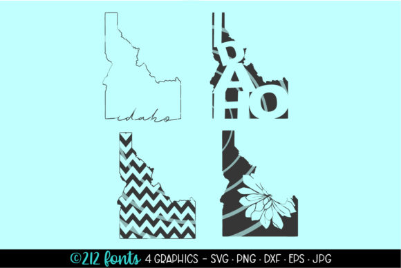 Print on Demand: Idaho State Map Silhouette Graphic Illustrations By 212 Fonts