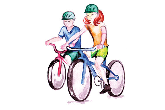 Download Free Kids Riding Bicycles In Watercolor Style Svg Cut File By for Cricut Explore, Silhouette and other cutting machines.