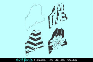 Maine State Map Silhouettes Graphic By 212 Fonts