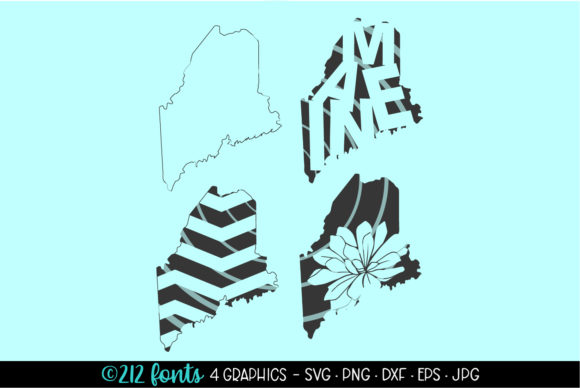 Print on Demand: Maine State Map Silhouettes Graphic Illustrations By 212 Fonts