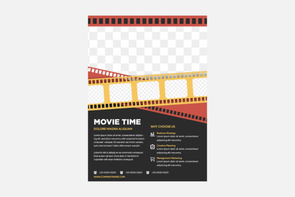 Print on Demand: Movie Flyer Black Red Graphic Print Templates By noory.shopper