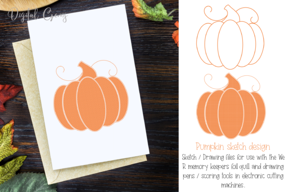 Pumpkin Foil Quill Drawing Design Graphic By Digital Gems
