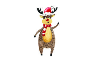 Reindeer Wearing Santa Hat - Watercolor Style Craft Design By Creative Fabrica Crafts